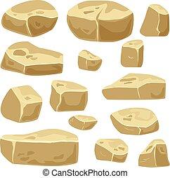 Set of desert stones for game art. Rocks isolated