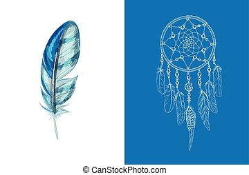 Set of design and decor elements. Detailed colored feather close up isolated on white background. Hand drawn ornate ethnic dream catcher on a blue background. Vector illustration.
