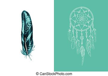 Set of design and decor elements. Detailed colored feather close up isolated on white background. Hand drawn ornate ethnic dream catcher on a pink background. Vector illustration.