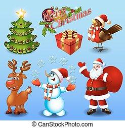 Set of design elements Christmas tree, gift, bullfinch bird, snowman, santa, greetings