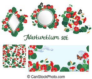 Set of design elements elements with nasturtium isolated on a white background. Vector graphics.