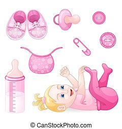Set of design elements for baby