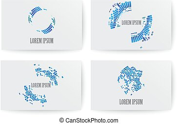 Set of design elements for business card template.