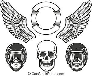 Set of design elements for creating a racing emblem