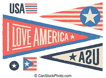 Set of design elements for Independence Day in USA. Vector illustration.