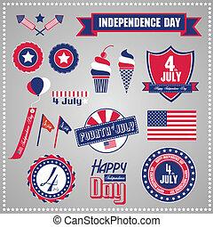Set of design elements for Independence Day, July 4