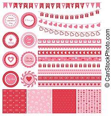 Set of design elements for Valentines Day or wedding
