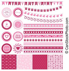 Set of design elements for Valentine's Day or wedding