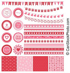 Set of design elements for Valentines Day or wedding