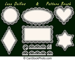 Set of design elements, lace paper doily and pattern brush,...