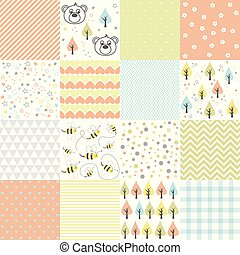 Set of design elements of baby theme seamless patterns