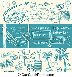 Set of design elements on the subject of travel and tourism. Hand-drawn silhouettes. Beach vacation in the tropics, flight.