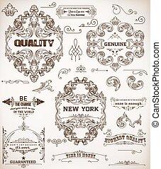 set of design elements: page decoration and baroque frames