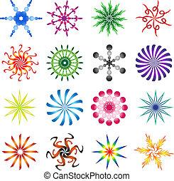 Set of design elements spiral in colors