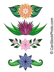 Set of design elements with doodle flowers and leaves. Vector elements for invitations, greeting cards, and your design ideas