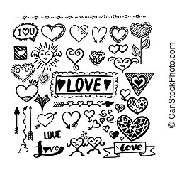 Set of design love object isolated