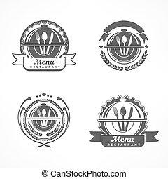 Set of design menu labels