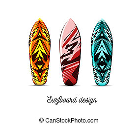 Set of designs for surfer boards on a white background. illustration. Hawaiian style