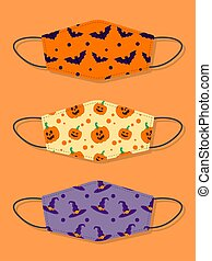 Set of designs reusable mouth kids funny face masks with halloween seamless pattern with bat, pumpkin and witch hat