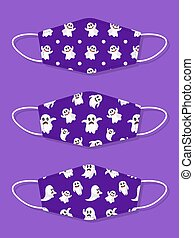 Set of designs reusable mouth kids funny masks with ghost seamless pattern
