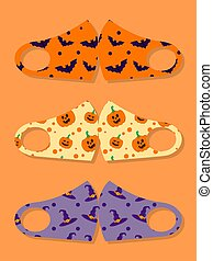 Set of designs reusable mouth kids funny masks with halloween seamless pattern with bat, pumpkin and witch hat