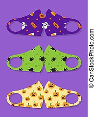 Set of designs reusable mouth kids funny masks with halloween seamless pattern with candy, ghost, spider and pumpkin