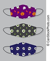 Set of designs reusable mouth kids funny masks with halloween seamless pattern with candy, skull, pumpkin and creepy eyes