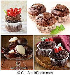 set of desserts, chocolate cupcakes