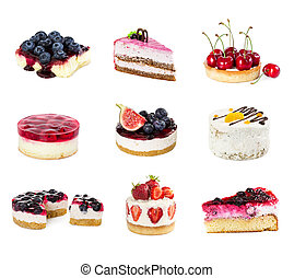 Set of desserts isolated on white