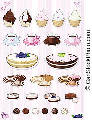 Set of desserts