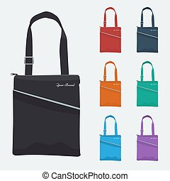Set of Detailed Bag with zip and pocket flat color. Promo gift