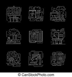 Set of detailed chemistry white line vector icons