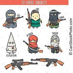 Set of detailed doodle character. Cartoon person. Personage with weapon. Doodle color men. Characters. Isis, Farc, Hamas, Ku Klux Klan, Al Qaeda, Taliban