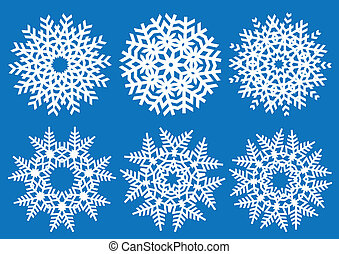 set of detailed vector snowflakes