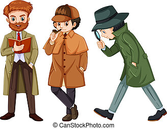 set of detective characters in different poses in flat design