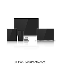 Set of Device Mock Up with Black Screens for your Design. Realistic Computer, Laptop, Tablet and Smartphone. Vector Illustration Isolated on White Background