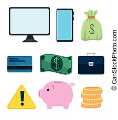 set of devices electronics and business icons