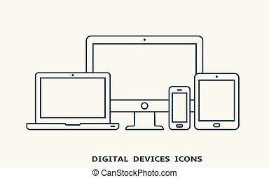 Set of devices icons. Monitor, laptop, tablet pc and smart phone