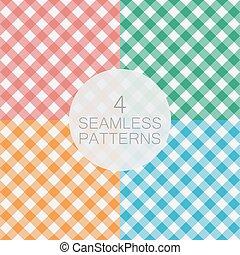 Set of diagonal Gingham seamless pattern.