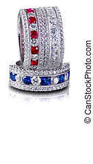 Set of Diamond and Gemstone rings Stacked