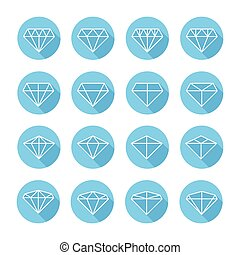 Set of diamond web icons,symbol,sign in flat style. Diamonds collection. Elements for design. Vector illustration.