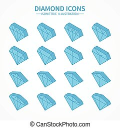 Set of diamond web icons,symbol,sign in isometric style. Diamonds collection. Elements for design. Vector illustration.