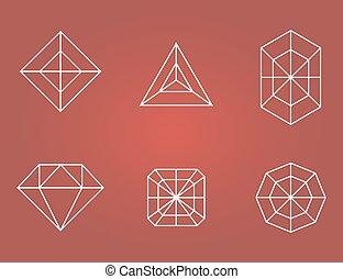 Set of diamonds icons