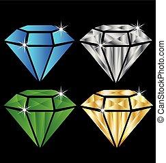 Set of diamonds logo - Colorful set of diamonds logo image...