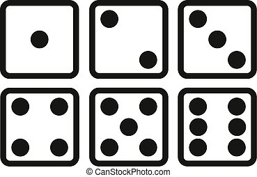 Set of Dice line icon on white background. Six dice vector illustration.