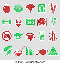 set of diet and healthy life style theme stickers eps10