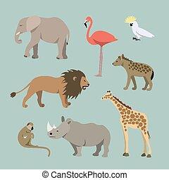 Set Of Different African Animals. Animals of the African savanah lioness, elephant, rhinoceros, giraffe, flamingo, monkey, hyena