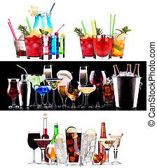 Set of different alcoholic drinks and cocktails