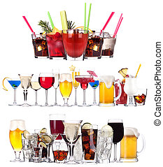 Set of different alcoholic drinks and cocktails - beer, ...