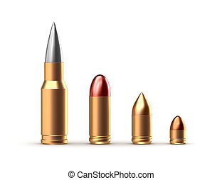 Set of different ammo shells. Isolated on white